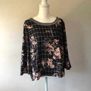 Halogen Windowpane Floral Top - Size L